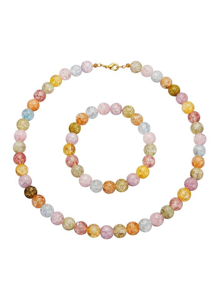 2tlg. Schmuck-Set aus mehrfarbigen Bergkristallen, Multicolor