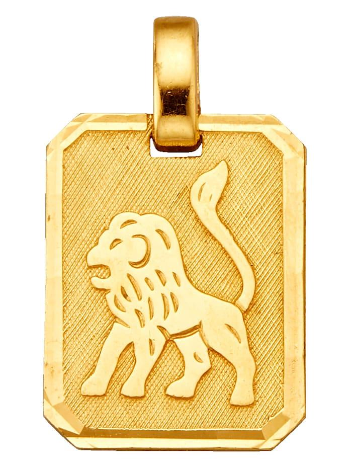 Sternzeichen-Anhänger Löwe, Gelbgoldfarben