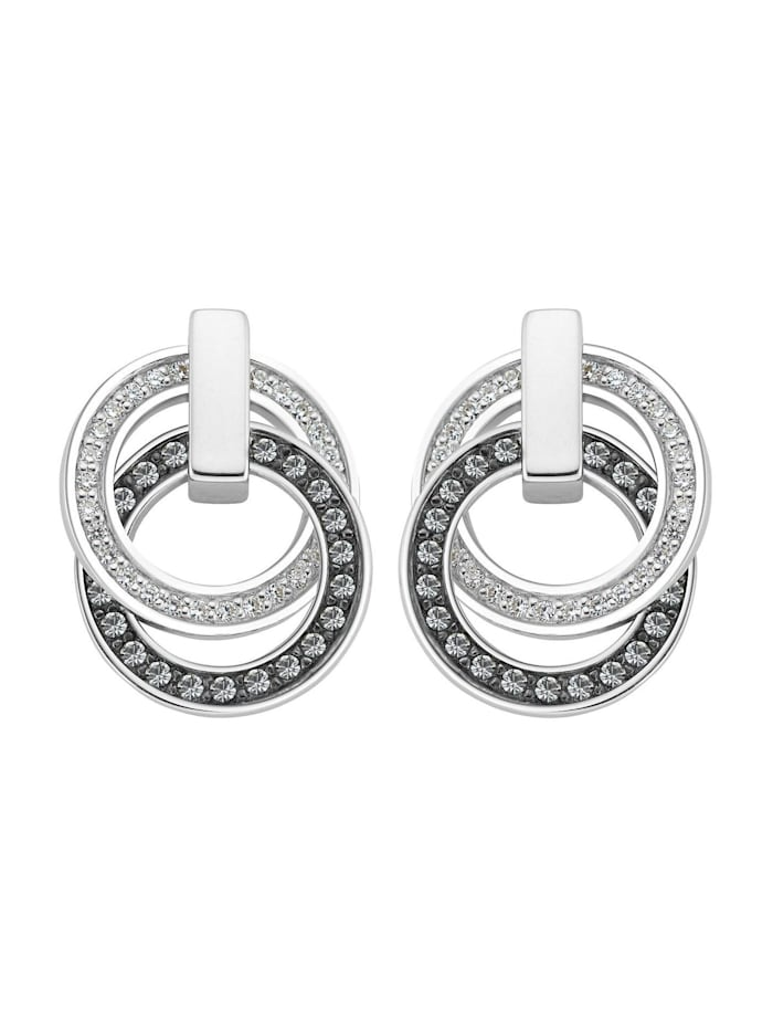 Jette JETTE Silver Damen-Ohrstecker 925er Silber 54 Zirkonia, silber/schwarz