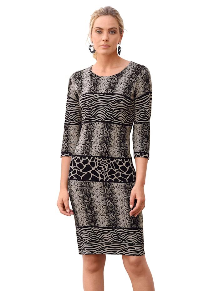 AMY VERMONT Gebreide jurk met animaldessin, Grijs/Zwart/Beige
