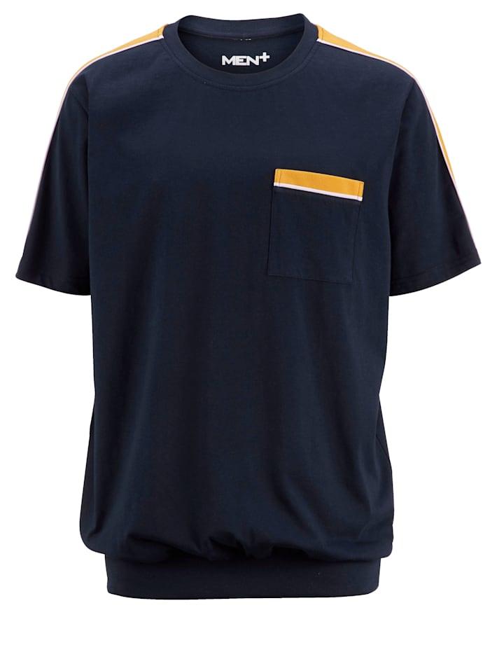Men Plus Vatsalle tilaa antava T-paita, Laivastonsininen/Keltainen/Valkoinen