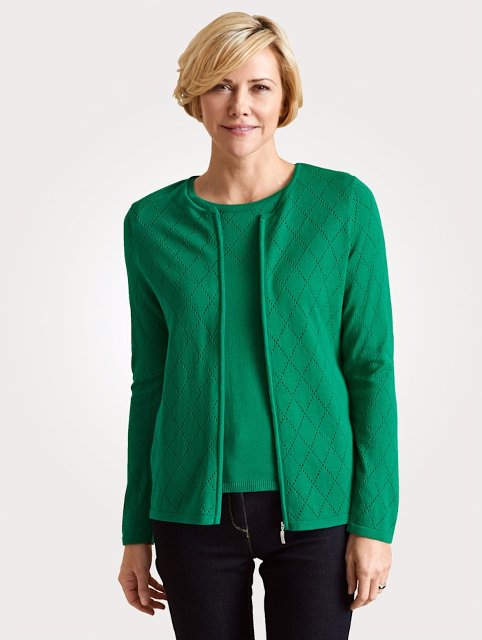 Twinset with ajour knit detailing