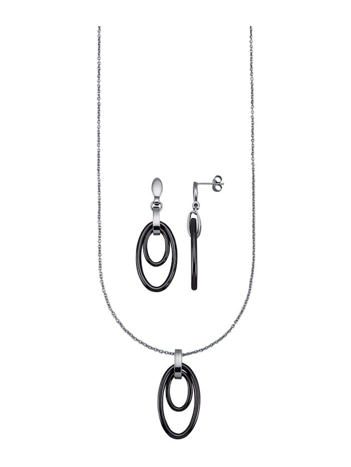 Jacques Lemans Parure de bijoux 3 pièces, Gris