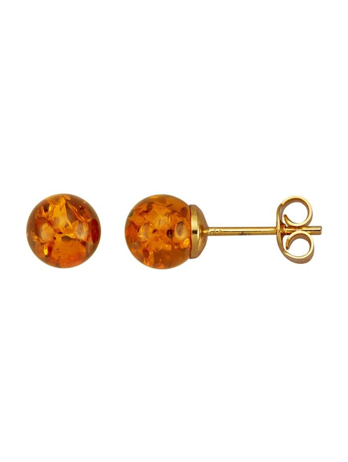 Boucles d'oreilles avec pierres d'ambre, Marron