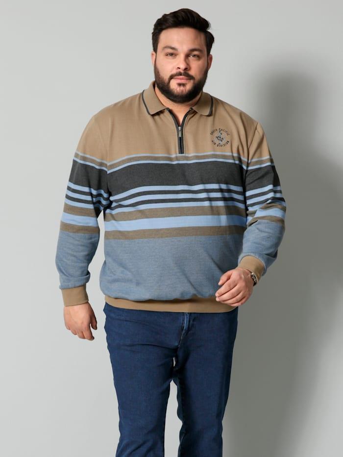 Men Plus Sweatshirt Spezialschnitt, Sand/Hellblau