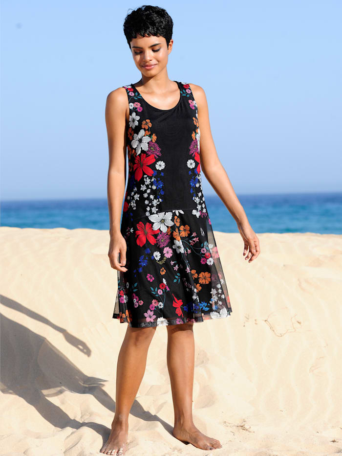 Alba Moda Strandkleid aus Meshware, Schwarz-Bunt