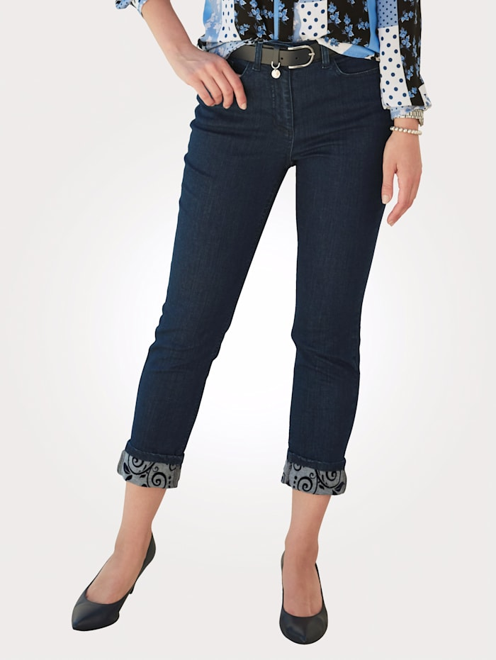 MONA Jeans with a floral print hem, Blue