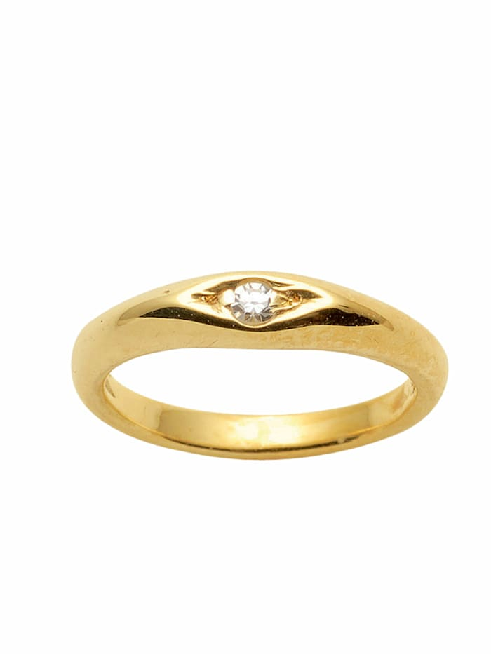 1001 Diamonds 1001 Diamonds Damen Goldschmuck 585 Gold Anhänger Taufring mit Diamant Ø 10,1 mm, gold