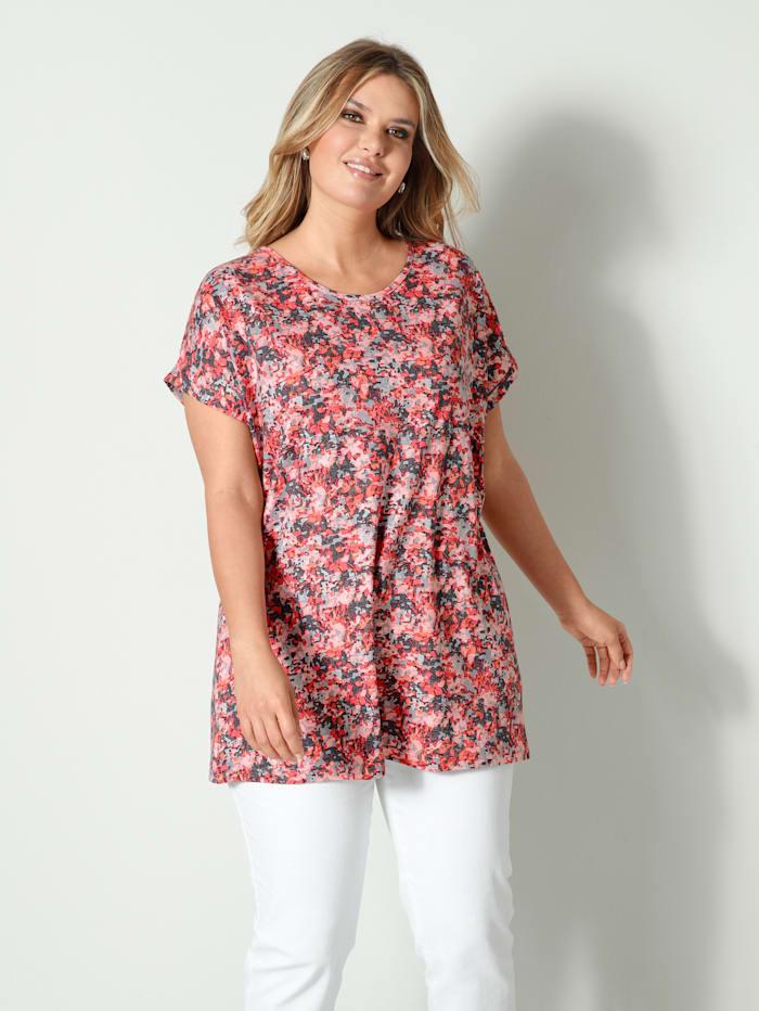 Janet & Joyce Shirt lässig geschnitten, Lachs/Grau