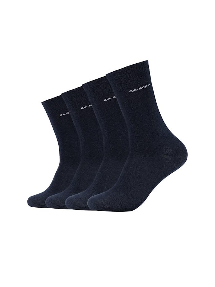 Camano Socken ca-soft 4er Pack Bund ohne Gummidruck, navy