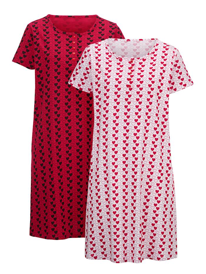Nachthemd im süßen Herzchen-Dessin 2er Pack