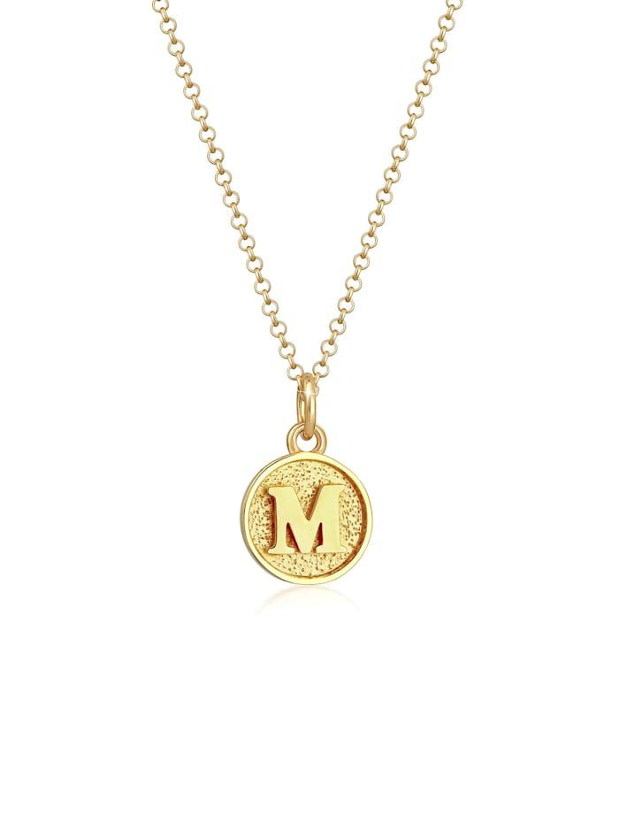 Elli Halskette Buchstabe M Initialen Vintage Plättchen 925 Silber, Gold