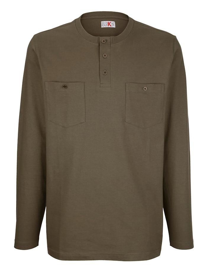 Roger Kent T-shirt à manches longues à patte boutonnée, Olive