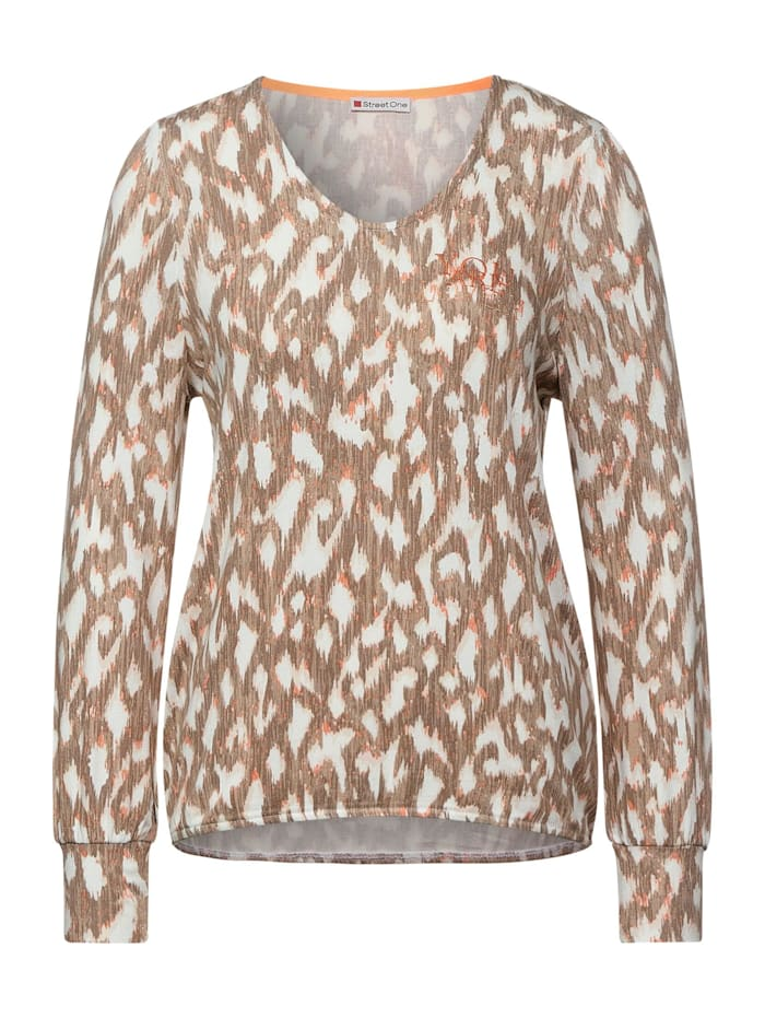 Street One Shirt mit Ikat Muster, hot sand