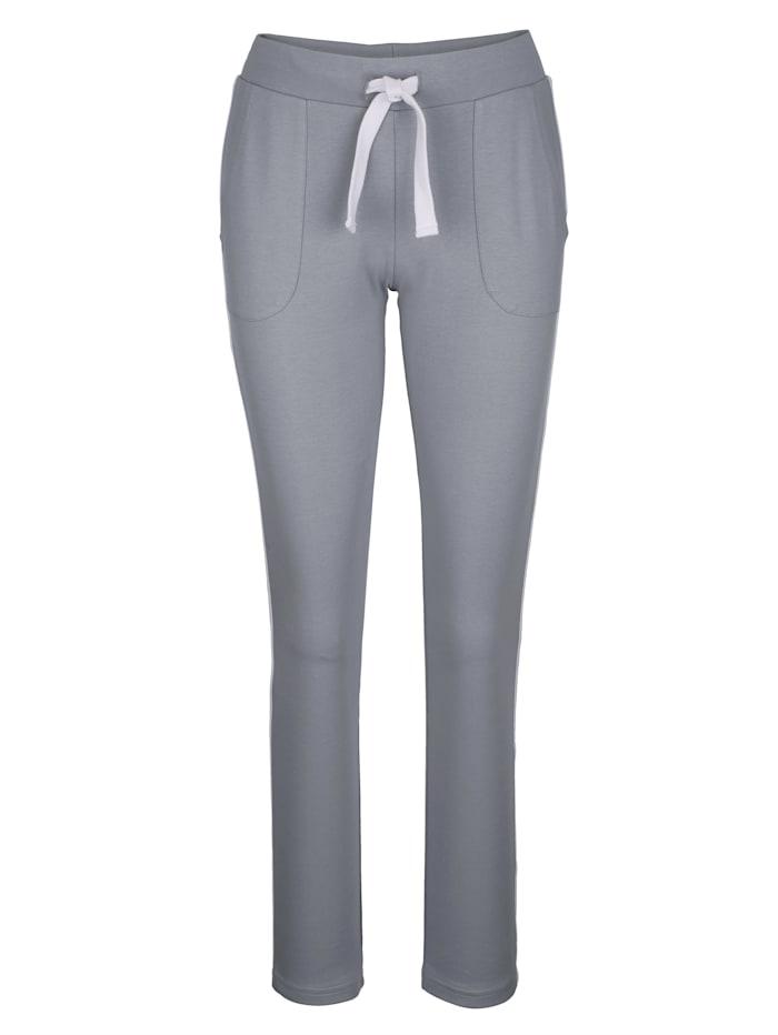 Louis & Louisa Pantalon de loisirs à bandes contrastantes sur les côtés, Gris/Blanc