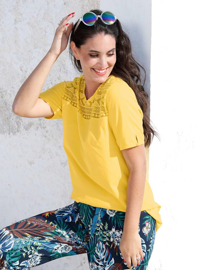 MIAMODA Longshirt mit Spitze, Gelb