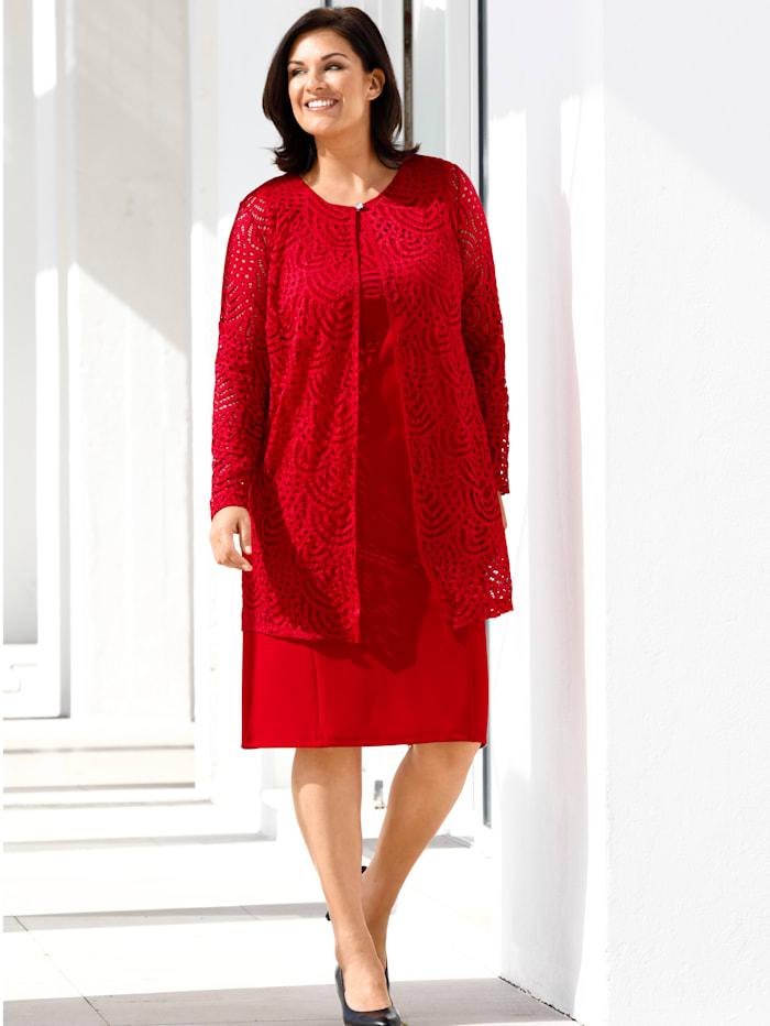 m. collection Kleid mit Spitzenjacke, Rot