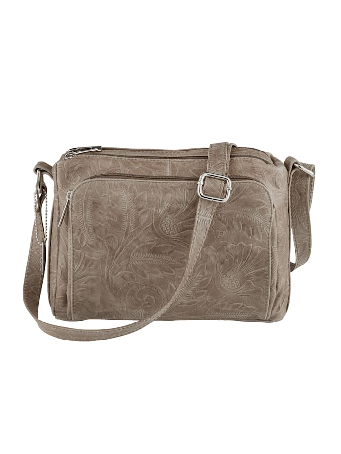 MONA Shoulder bag in a floral pattern, Taupe