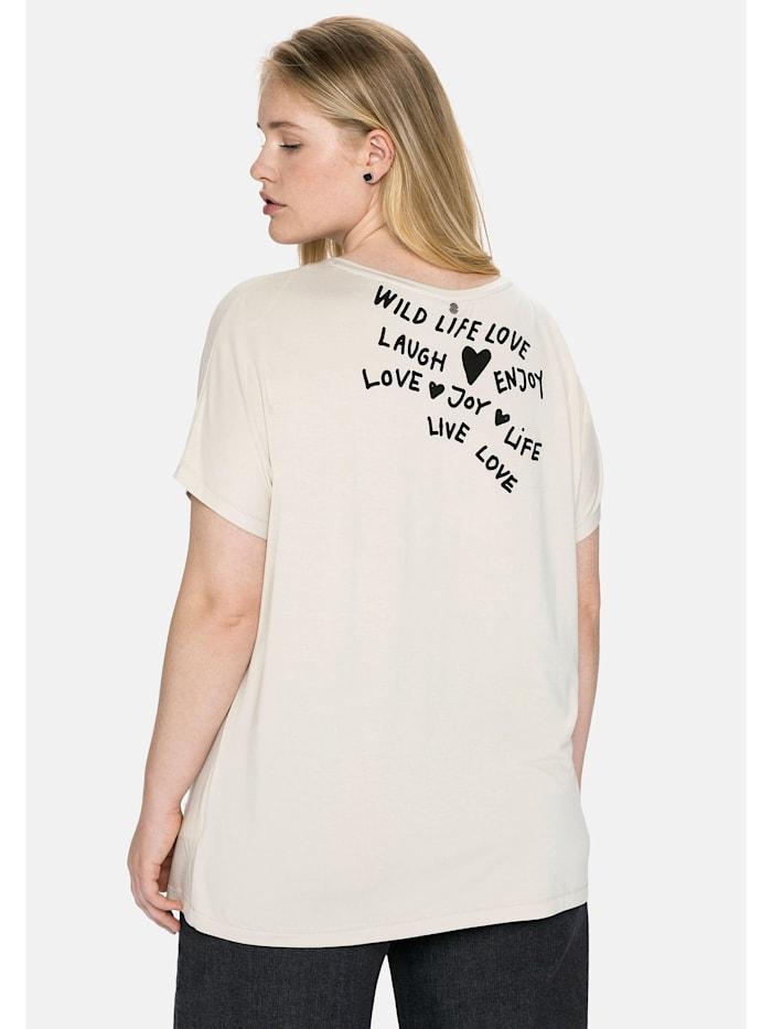 Sheego Shirt mit Print und Statements vorn und hinten