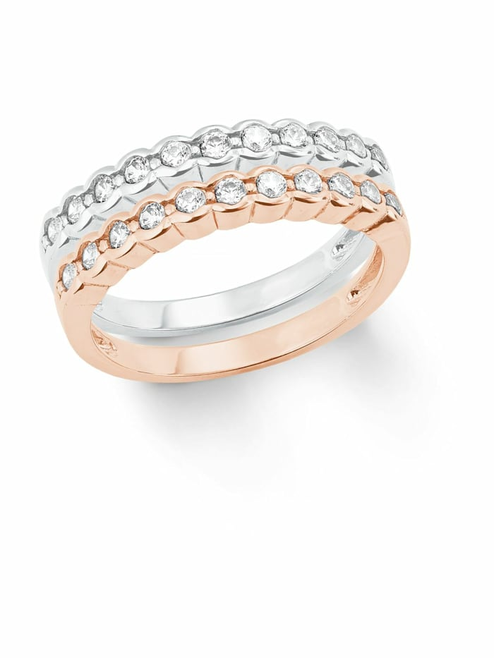 amor Ring für Damen, Sterling Silber 925, Zirkonia, Bicolor