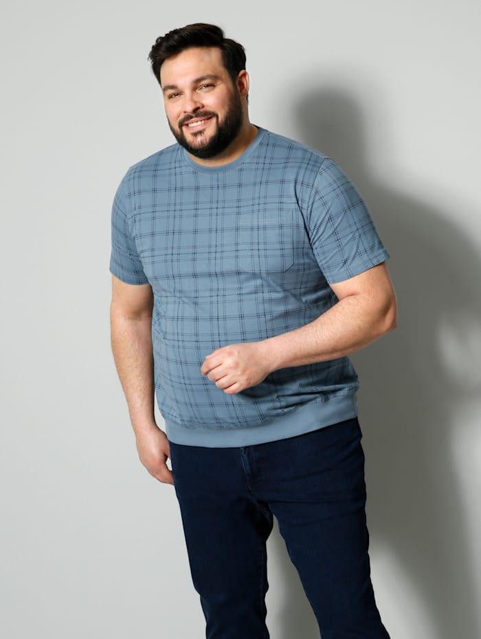 Men Plus Poloshirt Spezialschnitt, Rauchblau/Marineblau