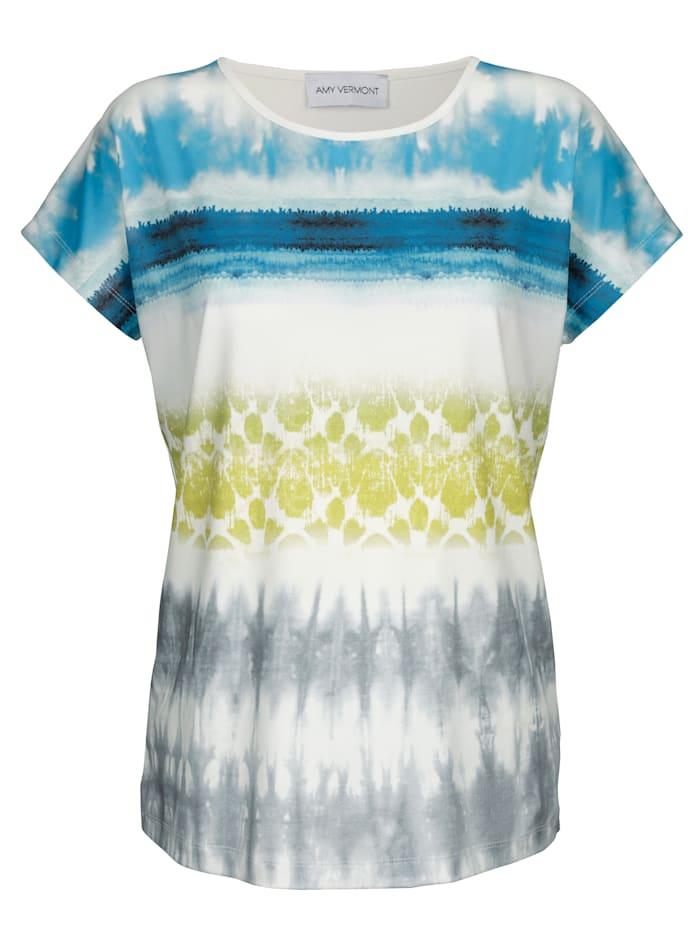 AMY VERMONT Shirt mit Batik-Druck, Weiß/Blau/Grün