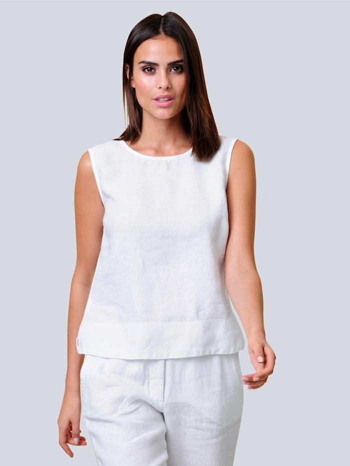 Alba Moda Top aus sommerlicher reiner Leinenqualität, Weiß
