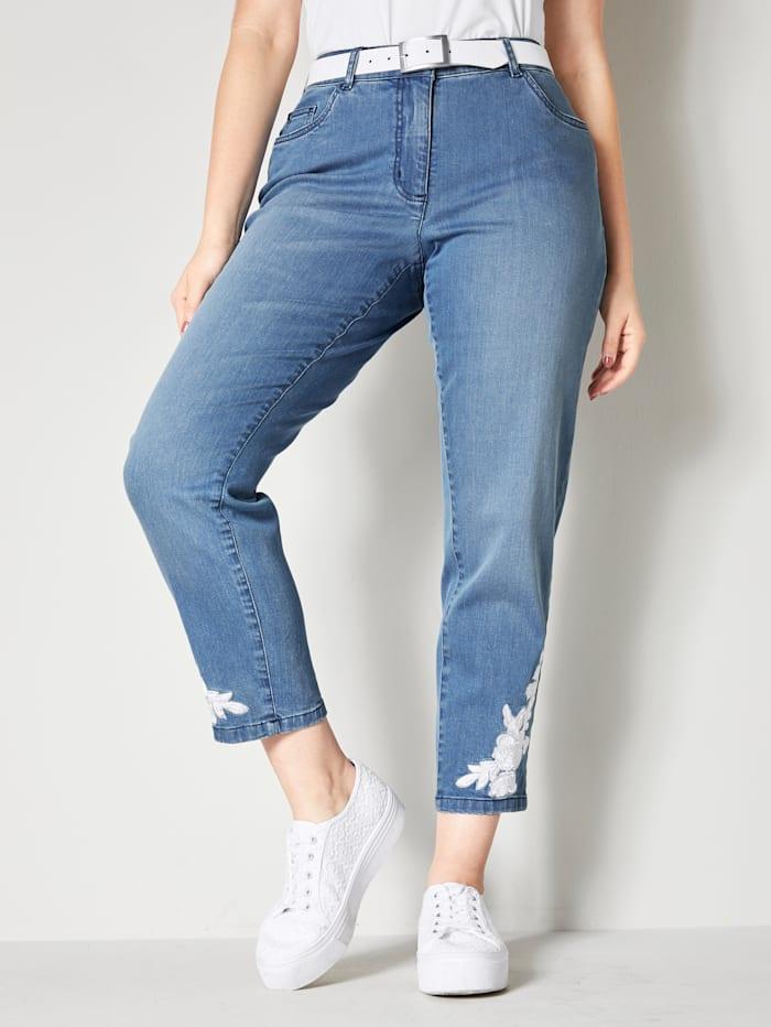 Sara Lindholm Jeans met geborduurde bloemen, Blue bleached