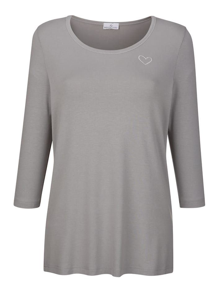 Shirt met klein hartvormig borduursel