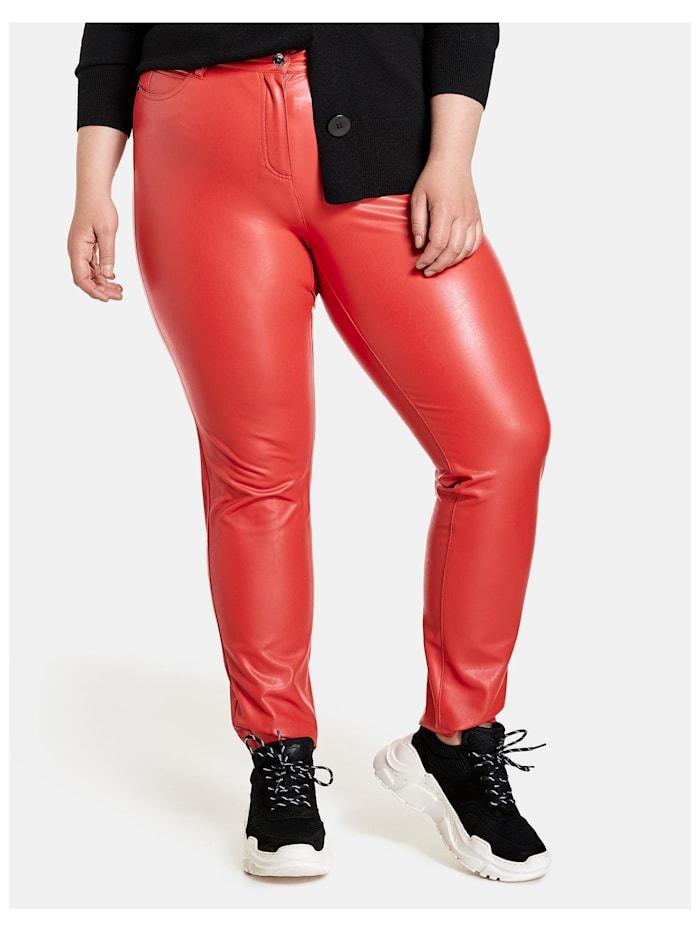 Samoon 5-Pocket-Hose Betty in Leder-Optik, Power Red