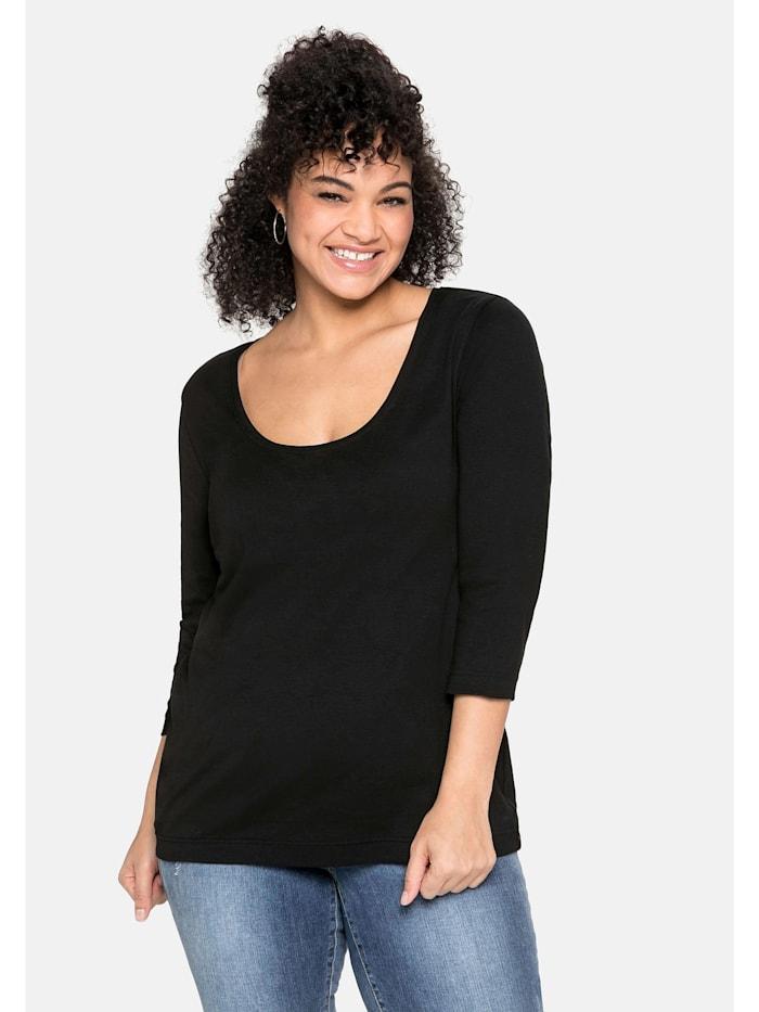 Sheego Sheego Shirt aus reiner Baumwolle, schwarz