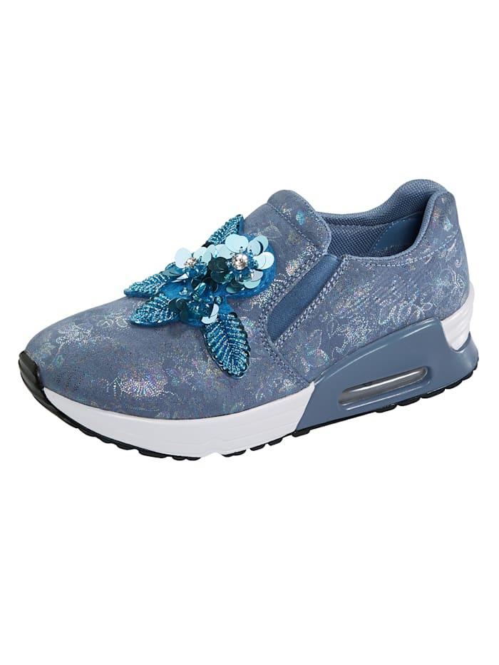 Liva Loop Slipper mit Blüten- und Perlenapplikation, Blau