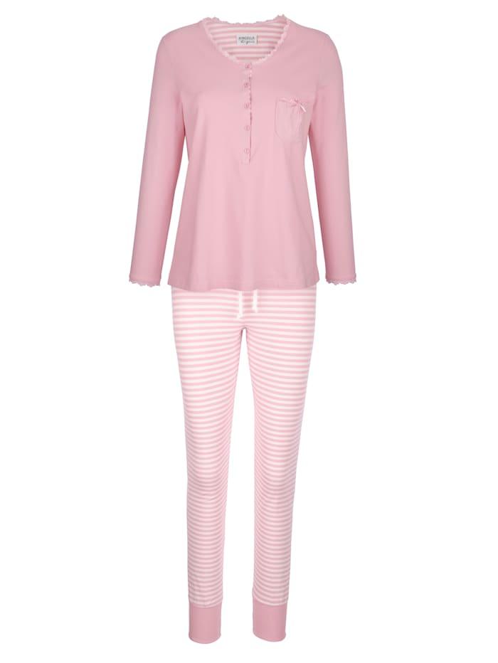 Ringella Schlafanzug mit süßer Brusttasche, Rosé/Ecru