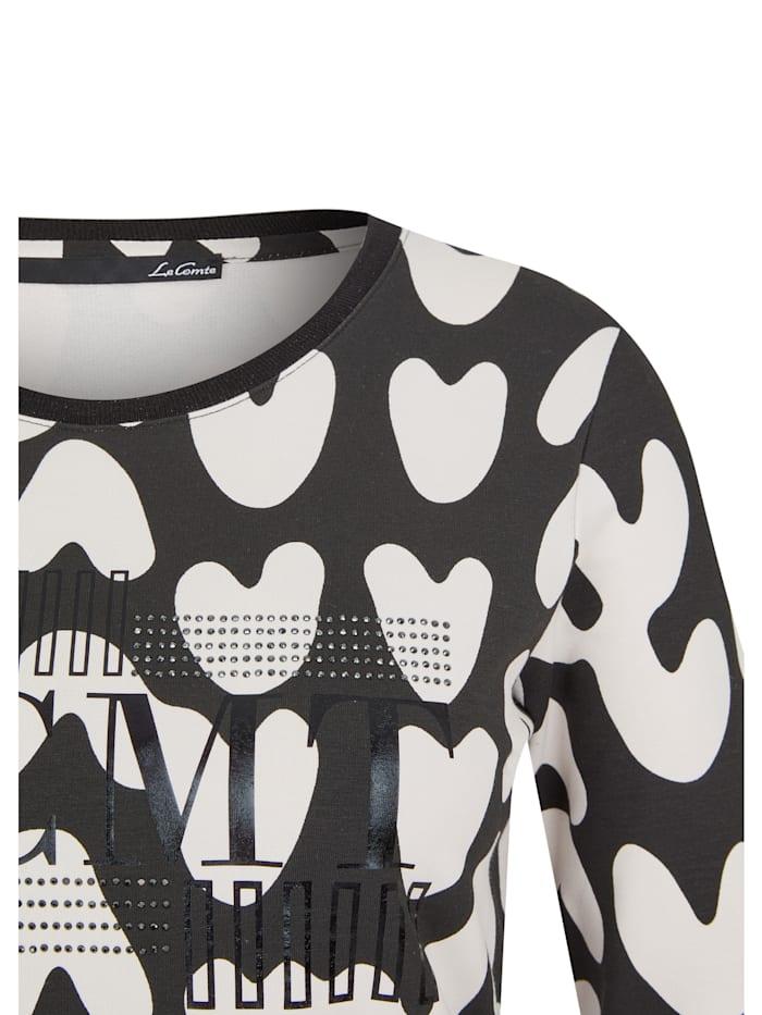 Shirt mit abstraktem Allover-Muster und Glitzersteinen