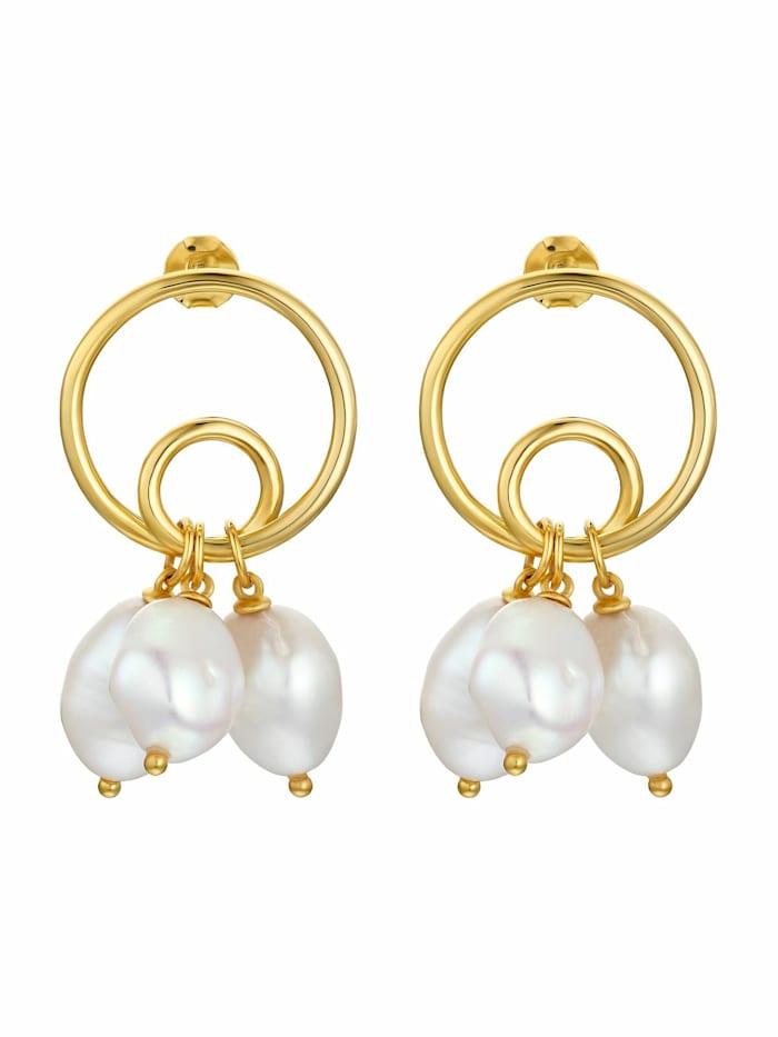 Creolen für Damen, Sterling Silber 925 vergoldet, Perle