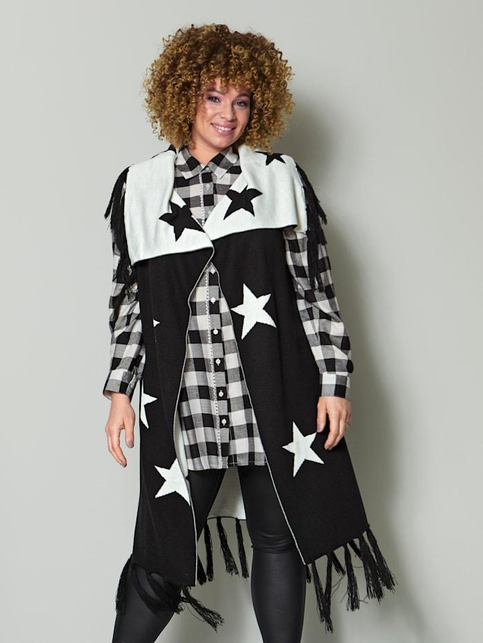 Angel of Style Mouwloos vest met jacquardopschrift, Zwart/Offwhite