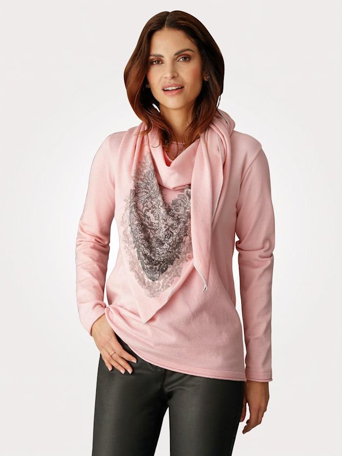MONA Pull-over et foulard assorti, Rose