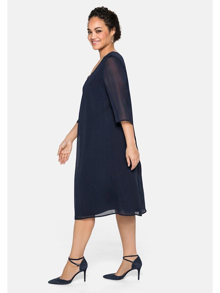 Sheego Kleid im Layerlook, aus Chiffon und Viskose, marine