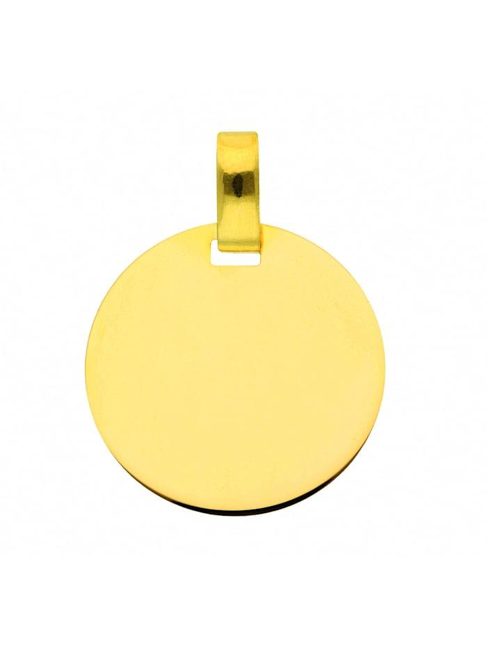 1001 Diamonds Damen Goldschmuck 333 Gold Gravurplatte Anhänger Ø 16 mm, gold