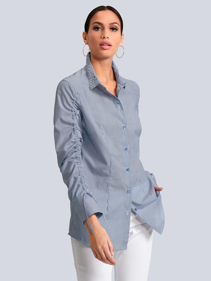 Alba Moda Bluse mit Schucksteinchen, Weiß/Blau
