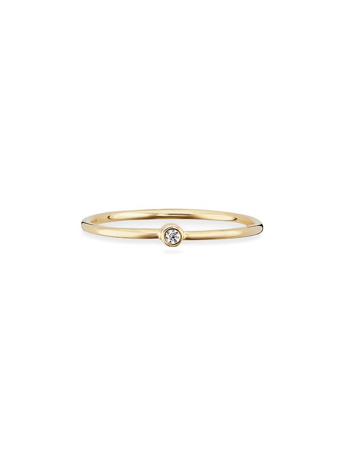 CAI Ring 925/- Sterling Silber Zirkonia weiß vergoldet 925/- Sterling Silber, gelb