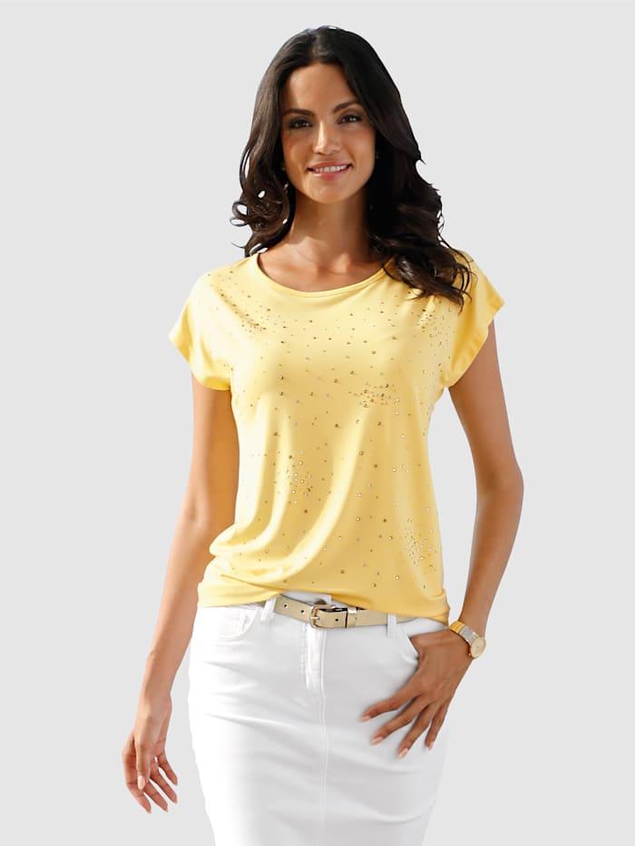 AMY VERMONT Shirt mit Strasssteinen, Gelb