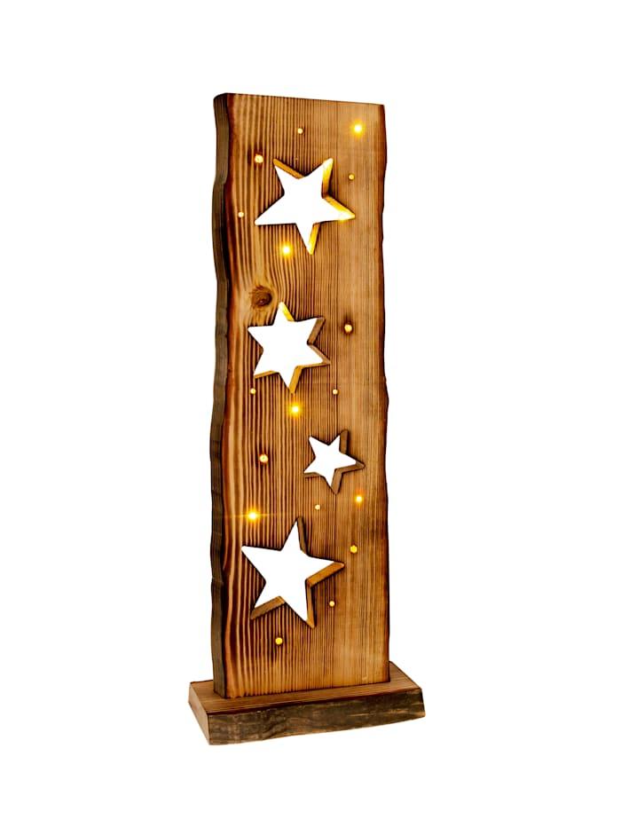 Näve LED-Holz-Weihnachtsleuchte Sternenmotiv, natur
