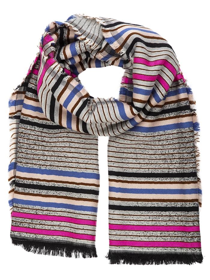 APART Streifen-Schal mit Fransensaum, braun
