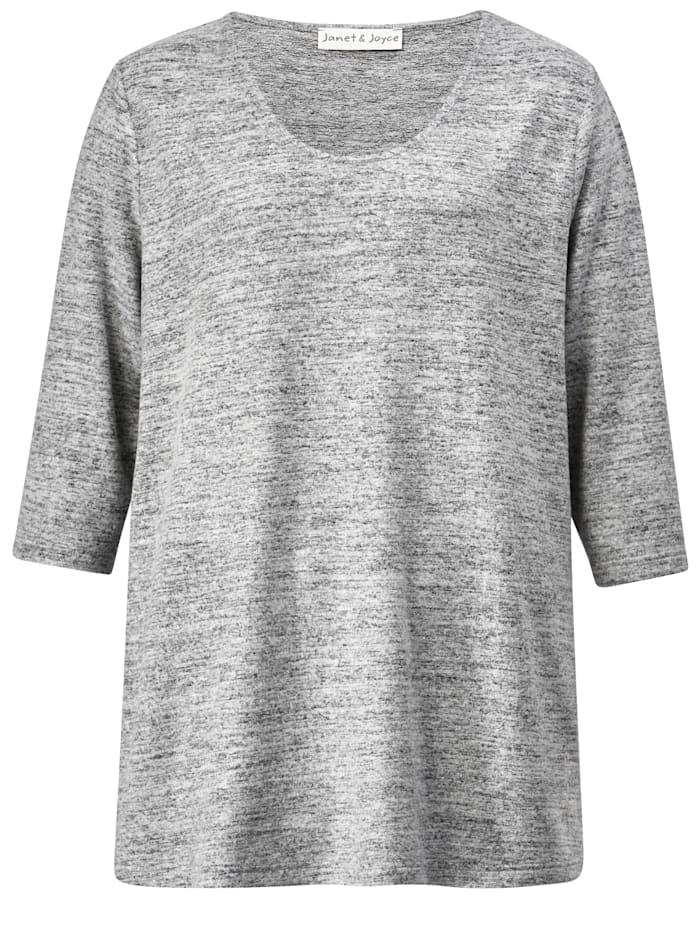 Shirt mit gerundetem V-Ausschnitt