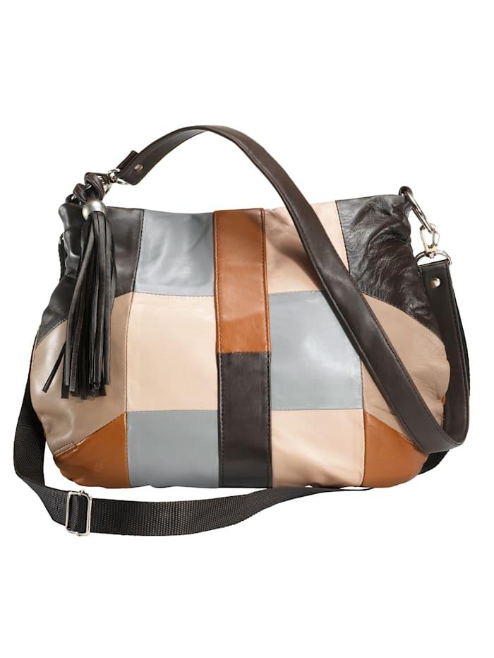 Renato Santi Handbag in patchwork look, Brown/Grey/Beige