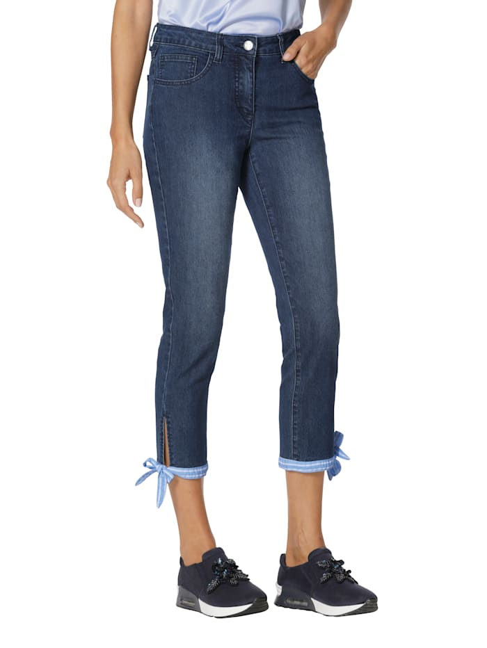 AMY VERMONT Jeans mit Bindeband am Saum, Black stone