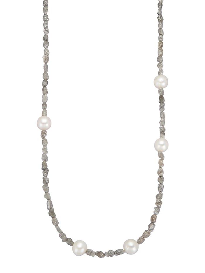 Halskette mit Rohdiamant, Grau