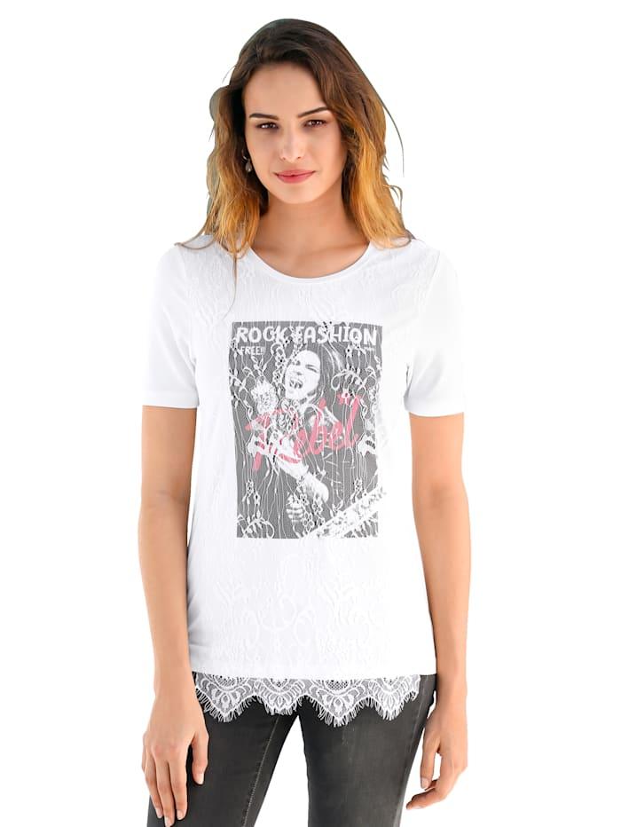 AMY VERMONT Shirt met motief en kant voor, Offwhite