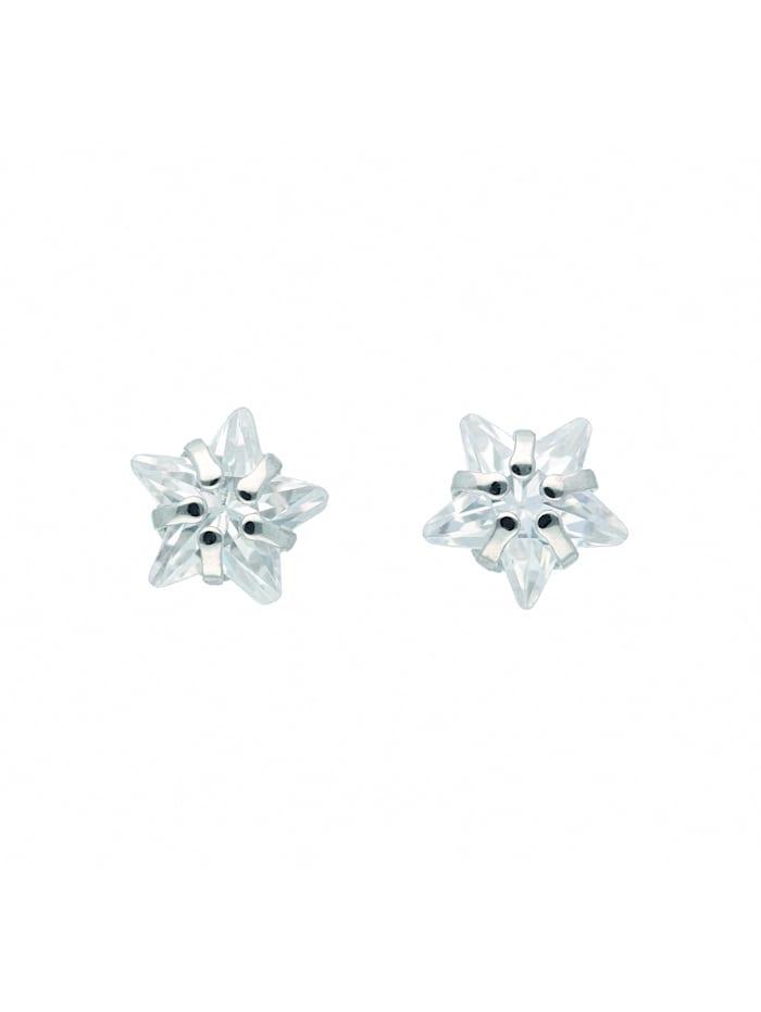 1001 Diamonds 1001 Diamonds Damen Silberschmuck 925 Silber Ohrringe / Ohrstecker Stern mit Zirkonia, silber